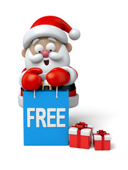 The Santa Claus and a few of free gifts