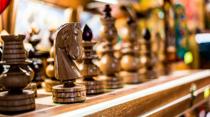 wooden chess on board