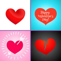 Set of four Icons of Hearts. Heart broken, heart with arrow, red heart and with Happy Valentine's day Text. Great for Valentine's Day, Mother's Day, Easter, wedding, scrapbook, photo album. Vector