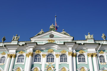 Top part of building of Hermitage Museum closeup, St. Petersburg, Russia