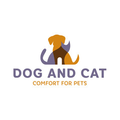Dog and Cat with effect Overlay trend logo art