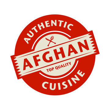 Abstract stamp with the text Authentic Afghan Cuisine