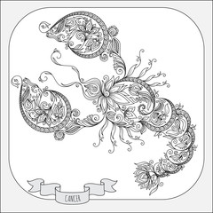Hand drawn pattern for coloring book zodiac Cancer.