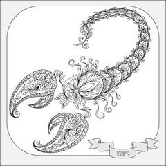 Hand drawn pattern for coloring book zodiac Scorpio.