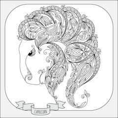 Hand drawn pattern for coloring book zodiac  Capricornus