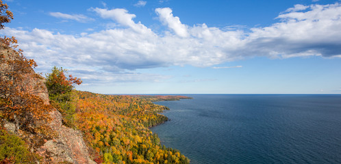 Panorama of Colorful Lake Superior Shoreline with Dramatic Sky