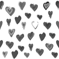 Gray water painted heart seamless pattern. White isolated vector background, wall paper.