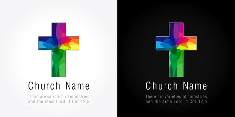 Church mission colored logo. The bright faceted mosaic cross.