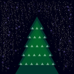 various christmas tree with snow - vector illustration