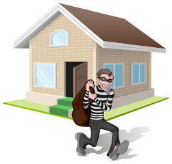 Robber in mask carries bag. Thief robs house. Property insurance