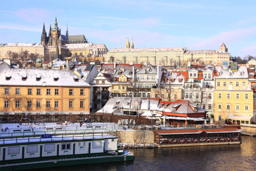 Snow in Christmas Prague City with the gothic Castle, Czech Republic