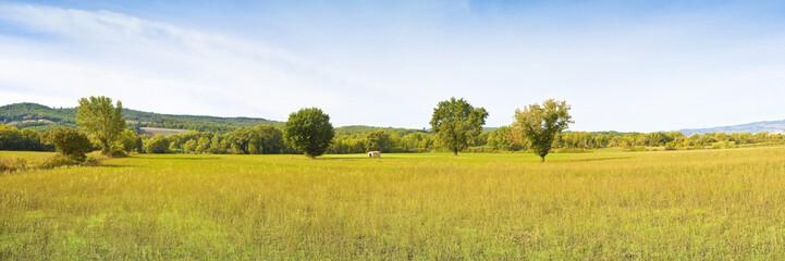 Tuscany landscape panoramic view (Italy, Tuscany, Pomarance). Panoramic image