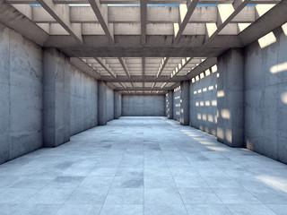 Długi tunel z betonu - efekt 3D