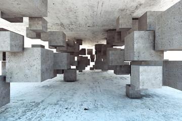 Beton 3D geometryczne bloki betonowe tworzące tunel