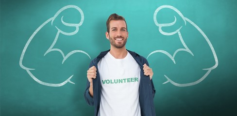 Composite image of portrait of a smiling young male volunteer