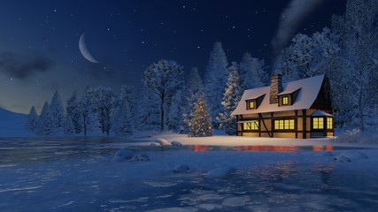 Dreamlike Christmas scene. Cozy rustic house with smoking chimney and decorated Christmas tree on the shore of a frozen lake under starry night sky with a half moon.