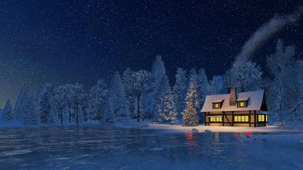 Christmas night scene. Snowbound cozy rustic house with smoking chimney and luminous windows and decorated Christmas tree at snowfall night.