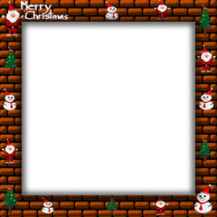 Merry Christmas Santa Claus, snowman and christmas tree on Picture frame, illustration