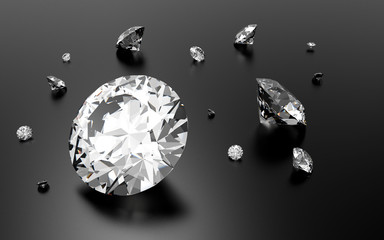 Shiny 3d diamonds on black grey background