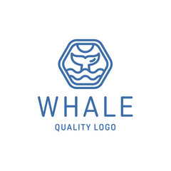 Fin whale abstract sign icon vector logo into flat style.