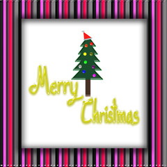 Picture frame, Christmas Greeting Card, Merry Christmas, christmas tree illustration