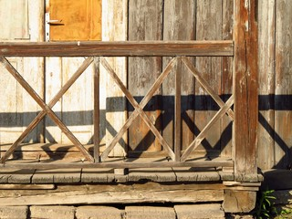 detail of nice wooden bannister of old cottage