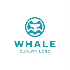 Diving with whale fin abstract sign icon vector logo into flat style