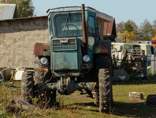 old tractor in the village