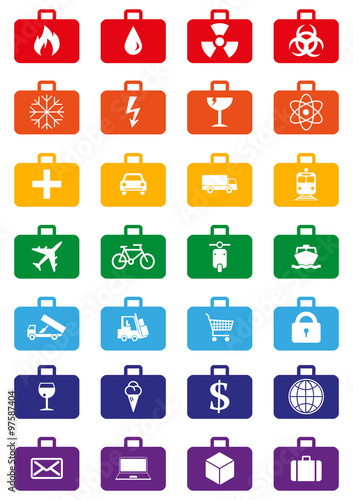 Logistics Service Icons Set Represented By Suitcases With Logistics