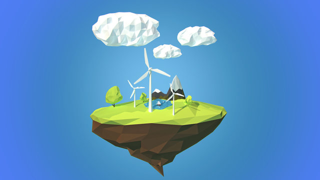 Wind turbines on floating island, low poly style.