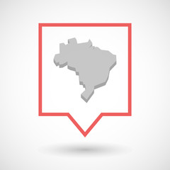 Isolated tooltip line art icon with  a map of Brazil