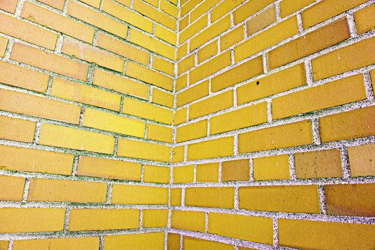 yellow brick wall pattern texture for background