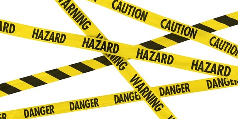Overlapping Caution, Warning, Danger and Hazard Tape Background