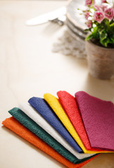 Still life with colorful paper table napkins