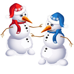 Two traditional snowman in red and blue clothes