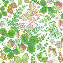 Seamless spring floral pattern with strawberries and flowers and butterflies (vector EPS 10