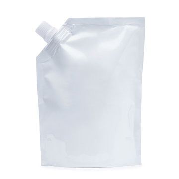 White blank spout pouch, bag foil or plastic packaging