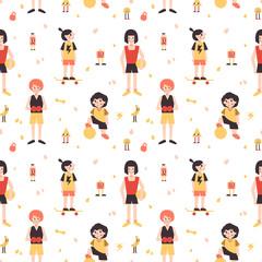 Sports girls (box, skateboarding, football, volleyball) minimalistic cartoon style vector seamless pattern