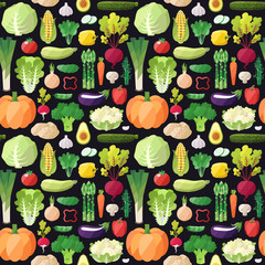 Big vegetables seamless vector pattern. Modern flat design. Healthy food wrapping paper.