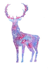 watercolor purple deer on a white background with purple splashes. Winter deer