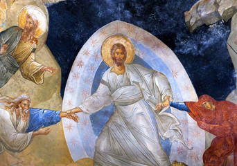 Ancient fresco 'the Anastasis' in the Chora Church in Istanbul, Turkey