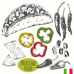 Mexican food in the sketch style. Latins traditional products.