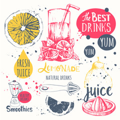 Drinks in sketch style. Useful natural juices and smoothies.