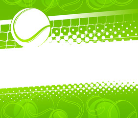 Tennis ball on a green background. Vector illustration