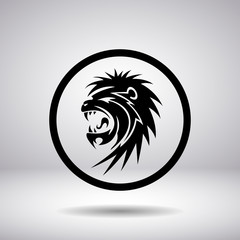 Silhouette snarling lion in a circle