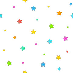Small stars are isolated on a white background. Seamless pattern. Watercolor lovely drawing. Handwork. Children's pictures