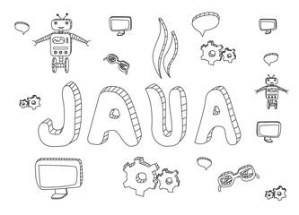 Java programming hand drawn doodle. Java hand drawn icons.