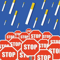 Stop smoking concept with filter cigarettes dropping like bombs from a blue sky above red and white traffic stop signs