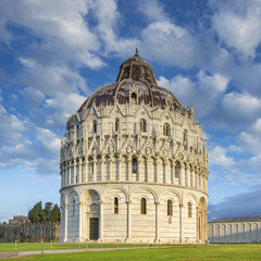baptistery in Pisa under morning clouds in Italy