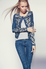 Young woman in denim clothes